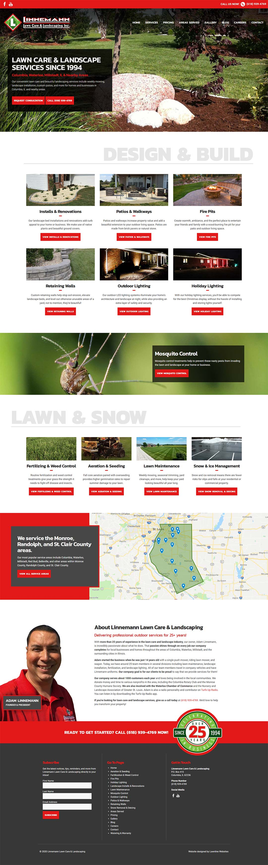 Linnemann Lawn Care & Landscaping Inc. Homepage Screenshot