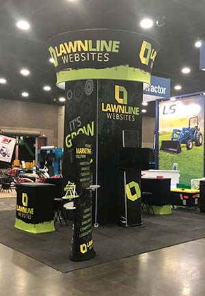 Lawnline Websites' booth at the 2019 GIE Expo in Louisville, KY.