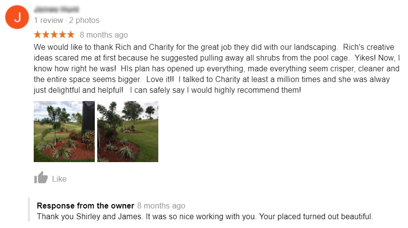 Screenshot: Landscaping customer review on Google.
